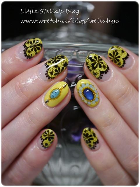 【Nail】迷戀奢華檸檬黃,全手繪黑蕾絲+藍寶石光療指甲