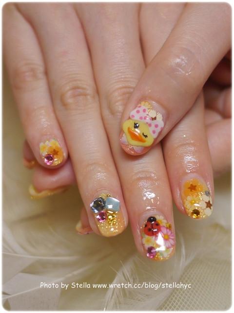 【Nail】可愛鴨子花朵小瓢蟲,夏末的檸檬黃冰沙之戀