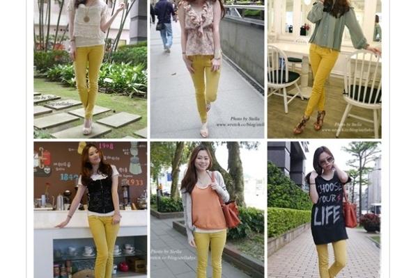 ♥一衣多穿♥春夏必備繽紛單品。黃色窄管褲x6種風格穿搭