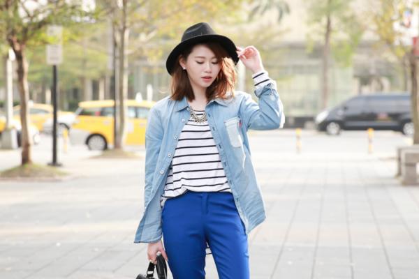 【日穿搭】休閒藍調-牛仔襯衫x橫條紋上衣x電藍西裝褲