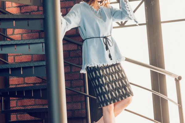 【日穿搭】復古喇叭寬袖率性牛仔上衣x民俗圖騰鉛筆裙