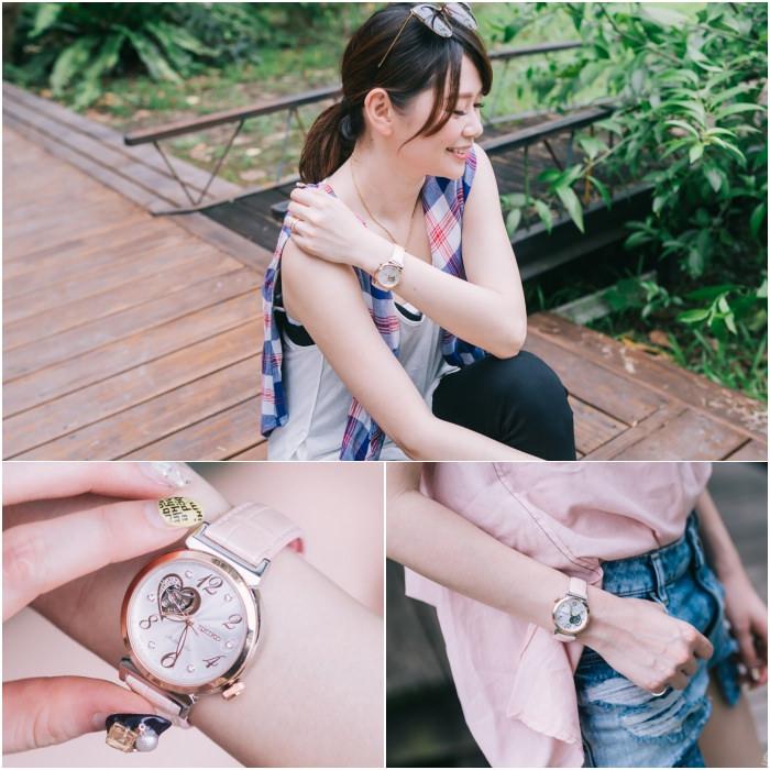 【手錶】一起跟著林依晨感受WOMENT美好進行式時刻,SEIKO LUKIA石英粉鏤空開芯機械錶