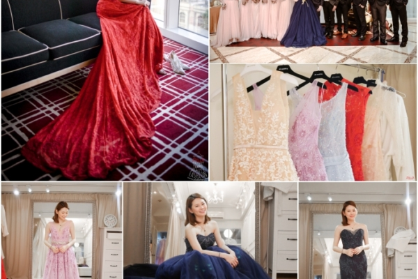 【Wedding】訂婚紅旗袍禮服+送客閃耀星夜藍蓬裙禮服+絕美伴娘服~JE WEDDING