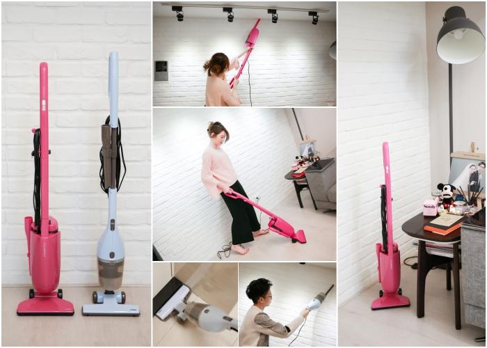【時尚小家電】TWINBIRD手持直立式吸塵器,輕盈吸力強,小家庭必備!!ASC-80TWW蜜桃紅