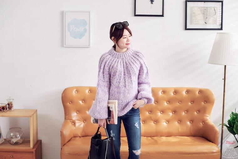 【日穿搭】Ganni The Julliard Mohair Sweater粉紫粗針織毛海毛衣,溫暖這個冬季