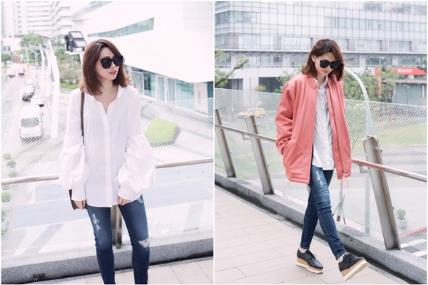 【日穿搭】Petersyn泡泡袖襯衫+AG Jeans+T by Alexander Wang蜜桃色飛行外套