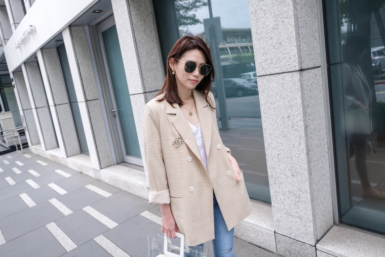 【穿搭】2019韓貨艾蜜四月號。終於找到絕美天菜奶油色格紋西裝外套!
