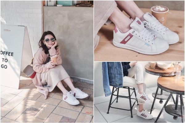 【休閒鞋推薦】K-SWISS防水系列小白鞋,乾燥玫瑰色好犯規啊~超好搭快收藏!