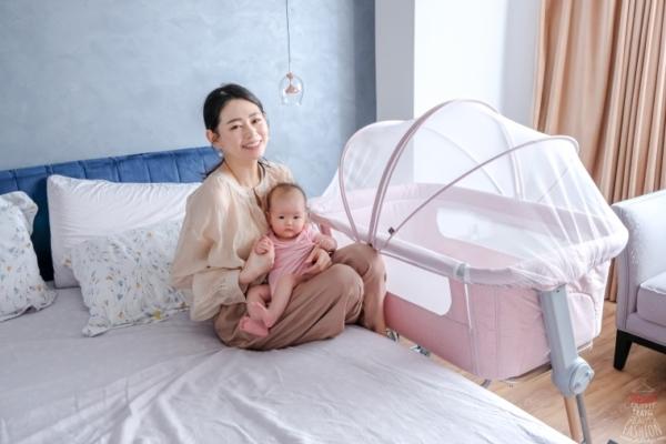 【育兒】英國Unilove Hugme Plus全視野透氣可攜床邊床,搭配蛋型蚊帳好網美風啊!
